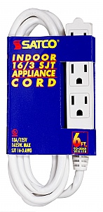 Satco 93 5045 93 5045 16 3 Sjt Extension Cord 6ft White